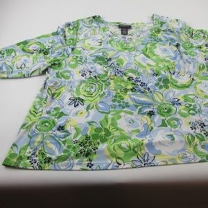 Avenue Stretch Blouse size 22/24 Blue green yellow